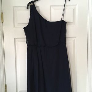 Adrianna Papell cold shoulder navy mini dress